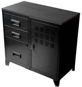 PIERRE HENRY - armoire en métal noir 1 porte 3 tiroirs 80x40x75,8 - Classeur À Tiroirs