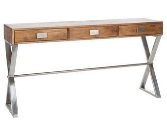 WHITE LABEL - console en bois - ken - l 160 x l 40 x h 85 - bois - Console