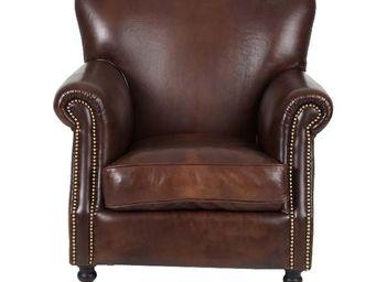 WHITE LABEL - fauteuil club cuir marron - hampshire - l 86 x l 8 - Fauteuil