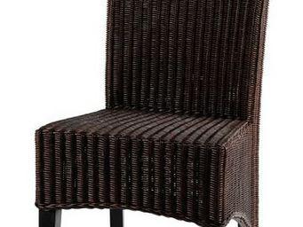 MEUBLES ZAGO - chaise rotin bangkok - lot de 2 - marron foncé - Chaise