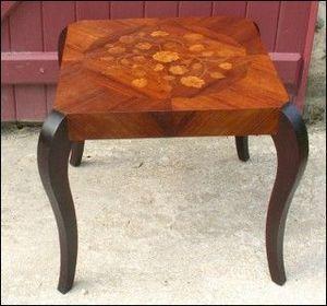 POULBENN - table basse bout de canapé marqueterie 1940-50 - Bout De Canapé