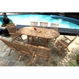 wood-en-stock - ensemble de jardin en teck 8 places ovale brut - Table De Jardin Ovale