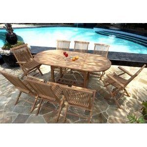 wood-en-stock - ensemble de jardin en teck 8 places ovale brut - Table De Jardin Ovale