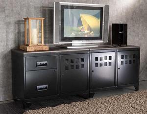 PHSA - meuble tv modulable en métal noir 40x160x57.5cm - Enfilade