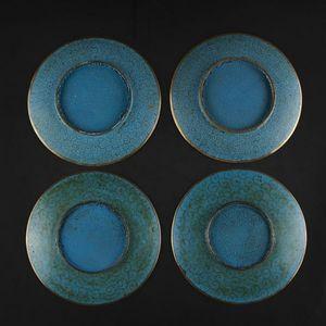Expertissim - quatre coupes en bronze et émaux cloisonnés à déco - Assiette Creuse
