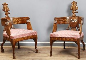 Galerie J�r�me Pla - paire de fauteuils n�o-egyptiens berlin - Fauteuil