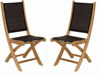 Medicis - chaises pliantes en teck et textilène noir (par 2) - Chaise De Jardin