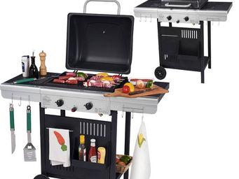 WILSA GARDEN - barbecue à gaz 2 feux grill et plancha 112x53x94cm - Barbecue Au Gaz
