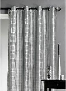 HOMEMAISON.COM - rideau d'ameublement argenté motifs carrés - Rideaux À Oeillets
