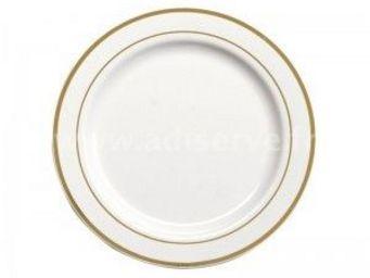 Adiserve - assiette blanche filets or 26 cm par 20 couleurs o - Vaisselle Jetable