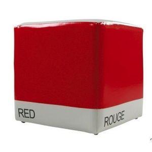 International Design - pouf bicolore cube - couleur - rouge - Pouf