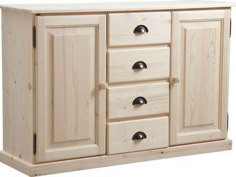BARCLER - buffet en bois brut 2 portes 4 tiroirs 125x83x40cm - Buffet Haut