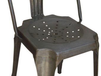 Antic Line Creations - chaise vintage en métal vieilli - Chaise