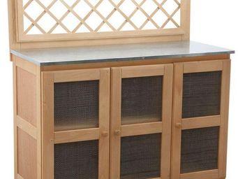 BARCLER - cuisine d'été pour plancha en bois et zinc 116x51 - Cuisine D'extérieur