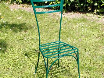 BARCLER - chaise de jardin laura en fer forgé vert 39x34,5x8 - Chaise De Jardin