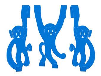 J.I.P Junior In Progress - porte manteaux 3 singes en m�tal bleu 22cm - Porte Manteau Enfant