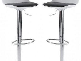ID'CLIK - tabouret de bar gaëlle blanc 38,5x42,5x77,5-102,5c - Chaise Haute De Bar