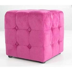 International Design - pouf velours carré - couleur - fushia - Pouf
