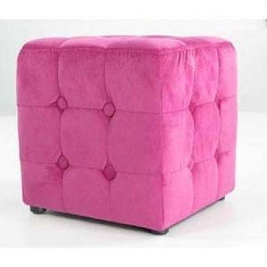 International Design - pouf velours carré - couleur - fushia - Pouf