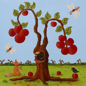 FRANÇOISE LEBLOND - toile sur châssis le renard et le corbeau de fran - Tableau Décoratif Enfant