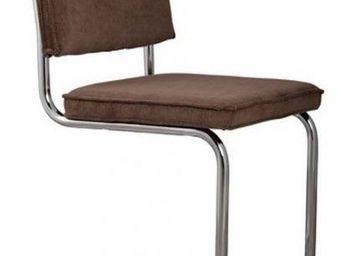 ZUIVER - chaise zuiver ridge rib velours café avec cadre ch - Chaise
