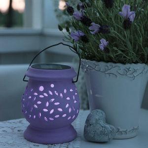 Best Season - clay lantern - lanterne solaire extérieur violet l - Lanterne D'extérieur