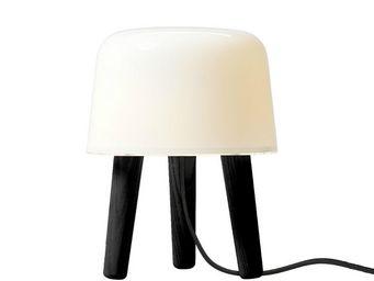 &Tradition - milk - lampe à poser verre/bois noir câble noir h2 - Lampe À Poser
