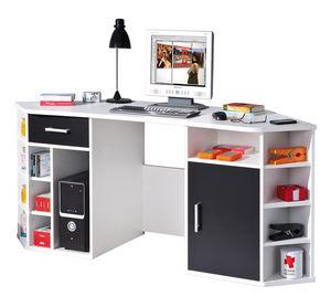 WHITE LABEL - bureau d'angle avec rangement coloris noir et bla - Bureau