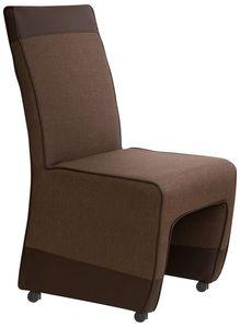 COMFORIUM - lot de 2 chaises marron tweed simili cuir et roule - Chaise