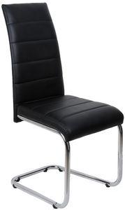 COMFORIUM - chaise simili cuir noir et piétement acier chromé - Chaise