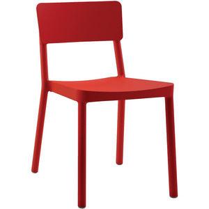 COMFORIUM - lot de 4 chaises empilables de coloris rouge - Chaise