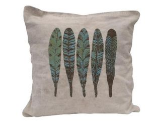 BYROOM - blue feather print - Coussin Carré