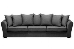 Home Spirit - canapé lit convertible watson tissu tweed noir fus - Canapé Lit