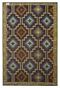 FABHABITAT - tapis intérieur extérieur lhasa bleu roi et chocol - Tapis Contemporain