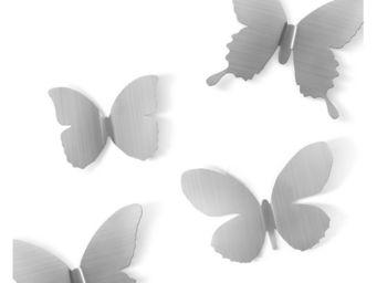 Umbra - déco murale papillons métal (lot de 9) nickel - Décoration Murale