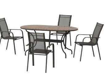 HEVEA - table jardin et fauteuils 4 places asburgo grecia - Salle À Manger De Jardin
