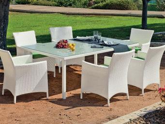 HEVEA - table et fauteuils réisne blanc sandra - Salle À Manger De Jardin