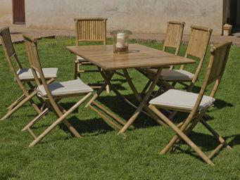 HEVEA - salon de jardin bali 1 table + 6 chaises - Salle À Manger De Jardin