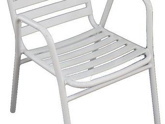 WILSA GARDEN - fauteuil de jardin à lattes retro blanc - Fauteuil De Jardin