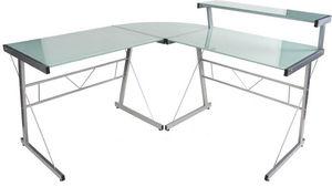 KOKOON DESIGN - bureau d'angle design delo verre blanc - Bureau