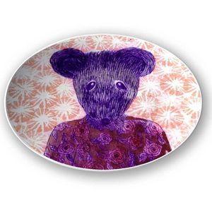 la Magie dans l'Image - assiette ma petite souris fond orange - Assiette De Présentation