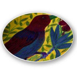 la Magie dans l'Image - assiette oiseau bordeaux - Assiette De Présentation