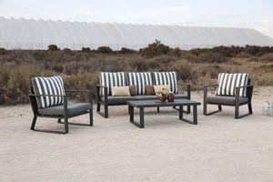 HEVEA - salon de jardin en aluminium gris noir boli - Salon De Jardin