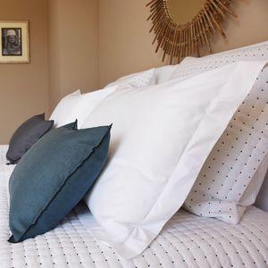 MAISON D'ETE - coussin en lin épais bleu canard bourdon noir 35x5 - Coussin Rectangulaire