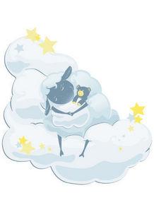 DECOLOOPIO - mouton sur son nuage - Sticker Décor Adhésif Enfant