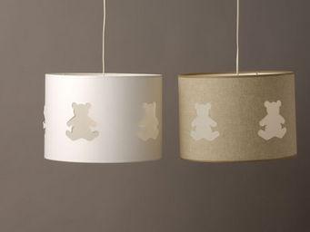 Voila Ma Maison - suspension cylindrique lin ou coton - ours ajour�s - Suspension Enfant
