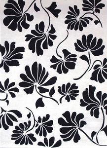 PASCALE GAUTHIER - fleurs blanc noir - Tapis Contemporain