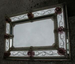 AABC PASCAL - miroir venitien orné de roses - Miroir Venitien