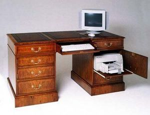 Arthur Brett & Sons - walnut computer desk - Meuble Ordinateur