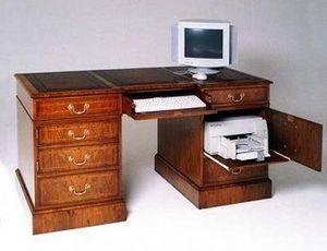 Arthur Brett & Sons - walnut computer desk - Meuble Ordinateur